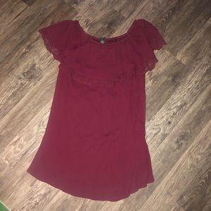 Red Rue21 odd the shoulder dress.